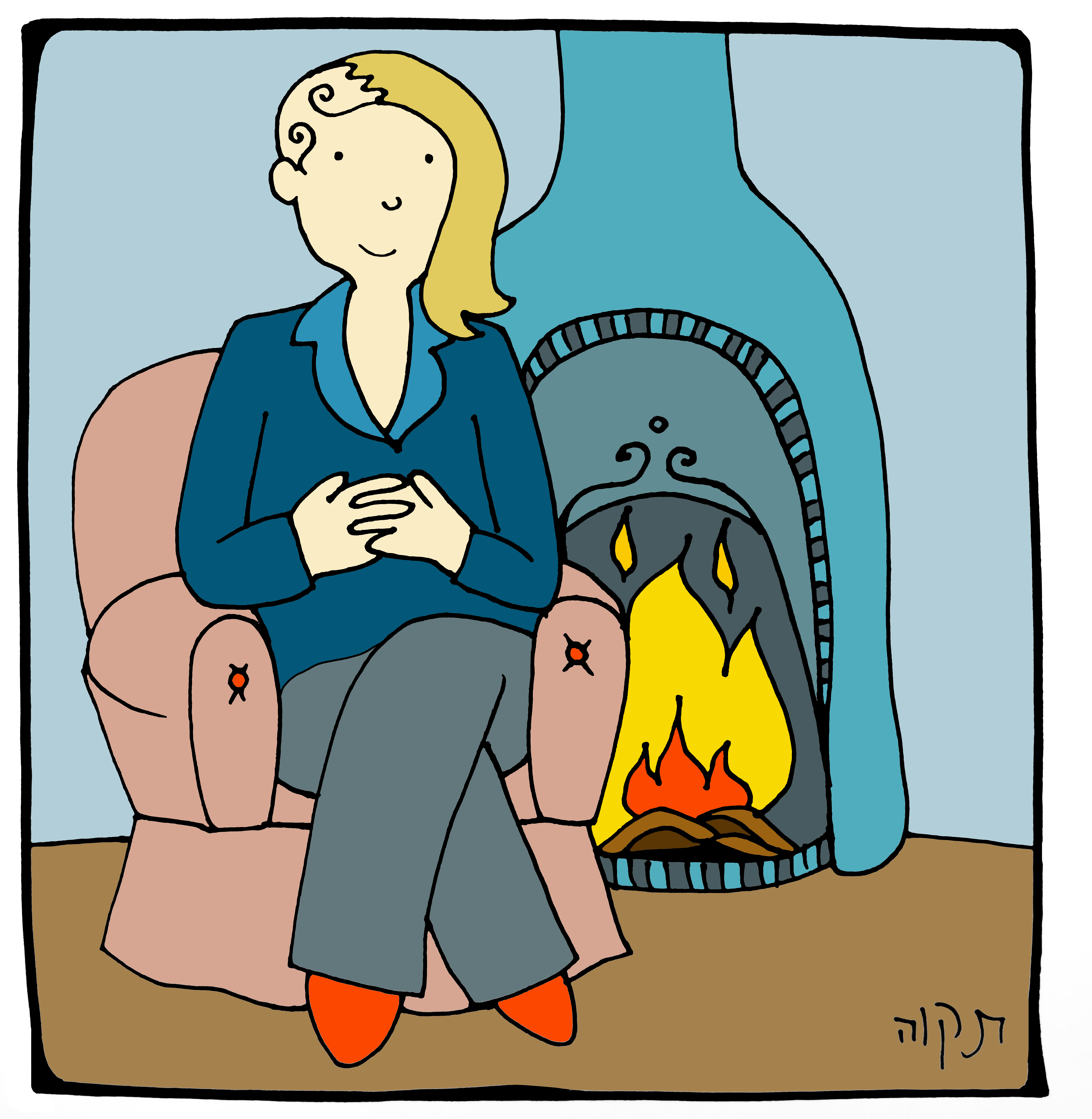 Cartoon picture of Sophia Graham sat in a comfy armchair next to a fire.
