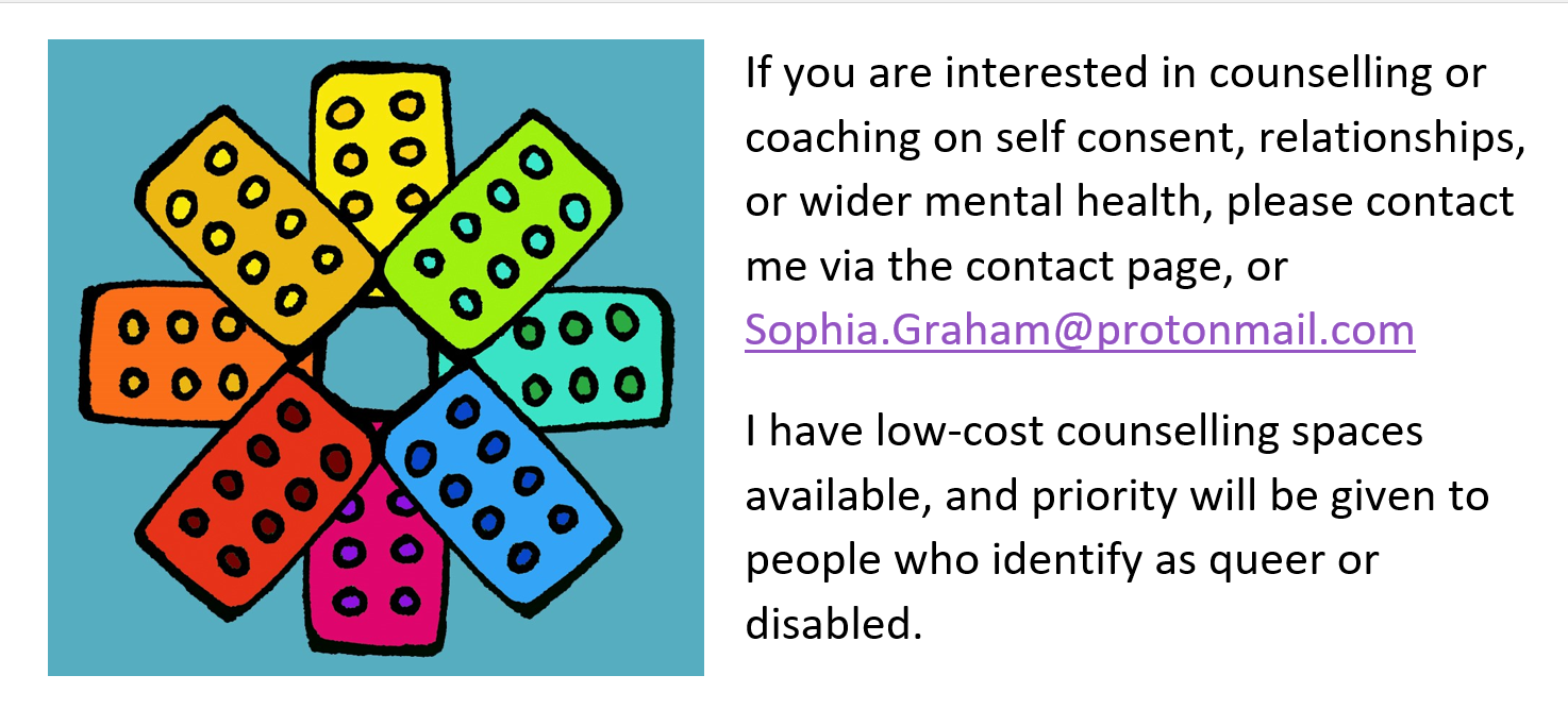 If you are interested in counselling or coaching on self consent, relationships, or wider mental health, please contact me via the contact page.