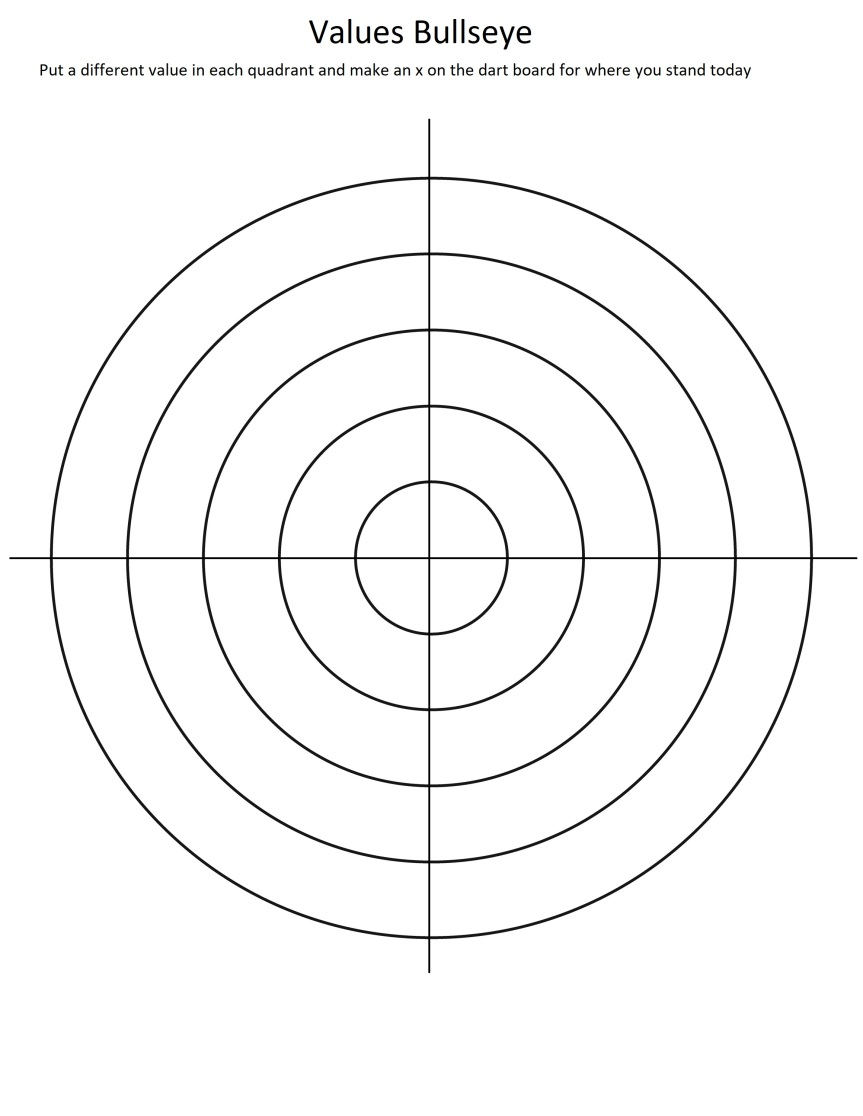 5 concentric circles with a cross through them