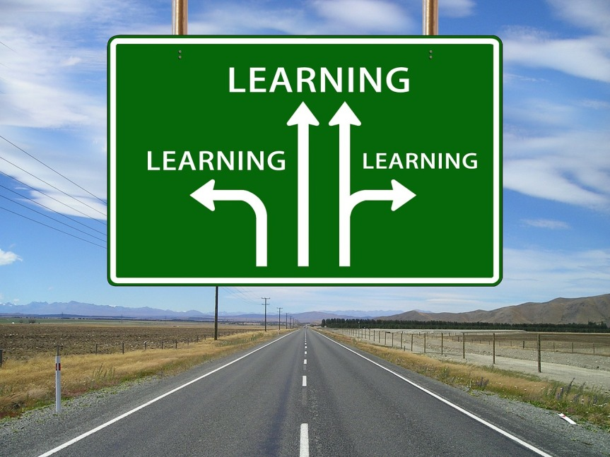 Road into distance with sign above with divergent arrows all labelled 'LEARNING'